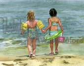 """Beach Girls, Sisters, Children, Friends on Seashore, Bathing Suits, Water Play, Watercolor Painting Print, Wall Art, Home Decor, """"Priceless"""""""