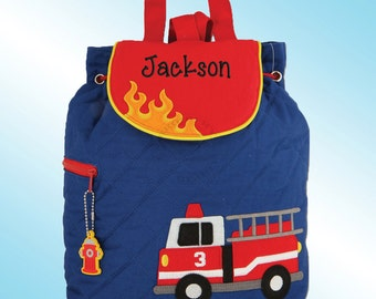 Quilted Backpack - Personalized and Embroidered - FIRE TRUCK