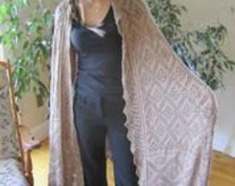 Beige 100% Silk Shetland Lace Shawl