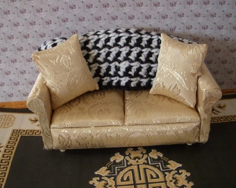 hand-crocheted dollhouse scale afghan, black and white alternate stitch 233