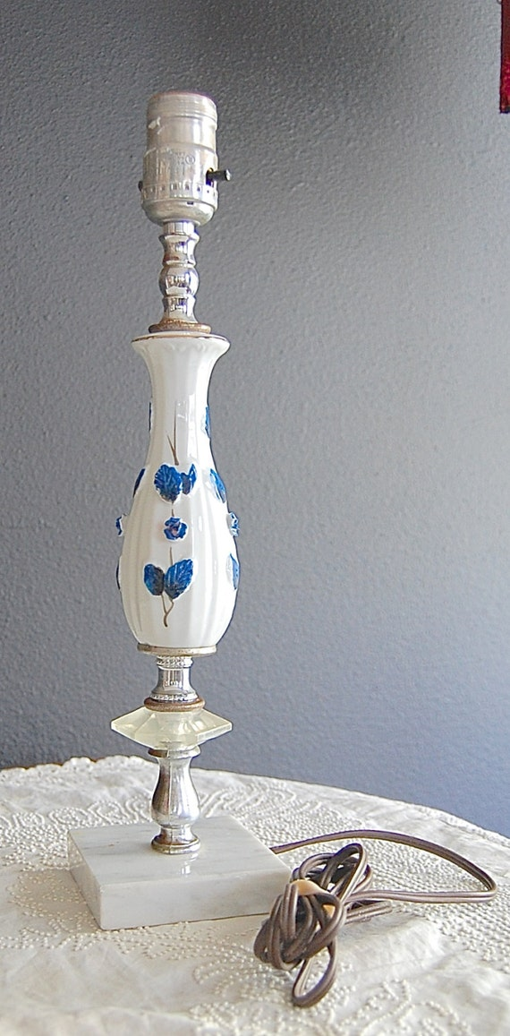 Antique Vintage Blue And White Table Lamp By