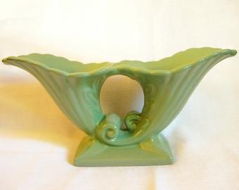 Vintage Green Abingdon U.S.A. Double Cornucopia Vase Planter