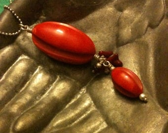 Bakelite Pendant 1930s Old Stock Red
