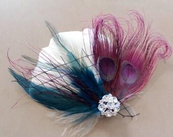Wedding Bridal Ivory Plum Purple Peacock Turquoise Teal Feather Rhinestone Head Piece Hair Clip Fascinator