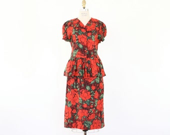 50s 60s Peplum Dress, Red Rose Bombshell Pin Up Floral Print ruffled cap sleeve button front light Summer wiggle fit shirtdress party frock