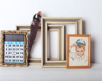 Vintage Wood Frame Set, Collection of Four Frames