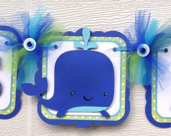 Whale banner, whale baby shower, baby shower banner, whale decorations, whale sign, blue and green decorations, it's a boy banner,