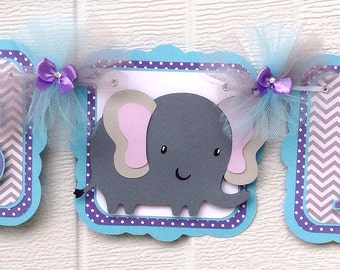 elephant baby shower banner, gray chevron, its a girl banner, lavender, aqua and gray
