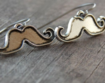 Titanium Earrings, Silver Mustache Earrings, Hypoallergenic Titanium Ear Wires