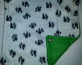 Black Pawprints on Kelly Green Fleece Hammock for Ferrets, Rats, Chinchillas, Sugar Gliders or Small Animals