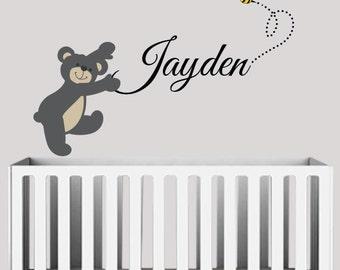 Teddy Bear and Bee Custom Baby Name- Kids Vinyl Wall Sticker Decal Set