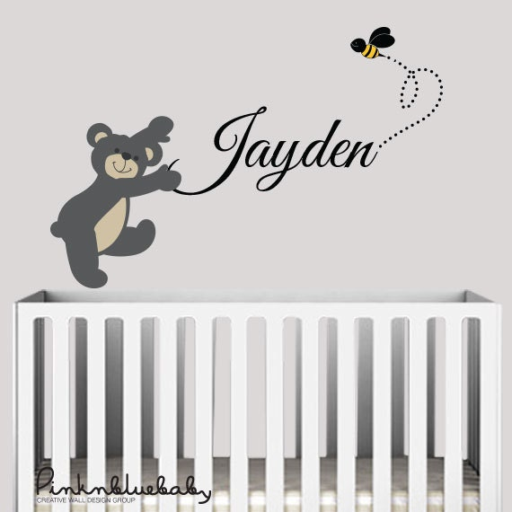 Teddy Bear and Bee Custom Baby Name- Kids Vinyl Wall Sticker Decal Set