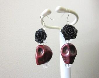 Day Of The Dead Earrings Sugar Skull Dangle Black Red Rose Flower