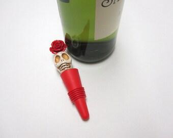 Big Daddy Skull Wine Stopper Day of The Dead Sugar Skull Silicone Wine Cork