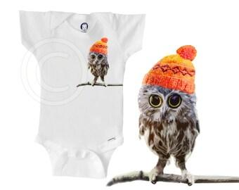 Organic owl onesie, owl wearing hat, unique gender-neutral baby clothes