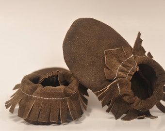 Eco Friendly Chocolate Suede Baby Moccasins
