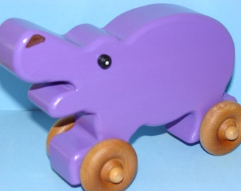 Wooden Hippo on the Go - PURPLE-licious