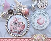Teacher Gift Personalized Key chain (or Necklace), Personalized Quote Thank You Gift, Teacher Appreciation, Rhinestone Apple Charm, Damask