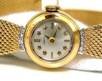 Estate Petite 18KT Gueblin Swiss Ladies Gold Watch Mesh & Star Bar Dial