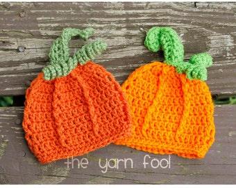 Newborn, Infant, Child Size Crochet Fall Autumn Pumpkin Hat