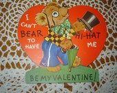 Vintage 1930s Mechanical / Moveable Valentine Card / Bear / TopHat / Umbrella