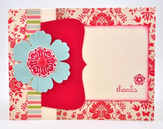 Thank You Greeting Card, Flowers, Vintage, Red, Ivory, Vanilla, Green, Blue, Aqua, Stamped, Thanks, Blank Inside
