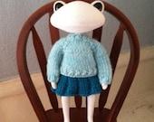 Knitting Pattern- Sweater and Skirt Set for Wonderfrog