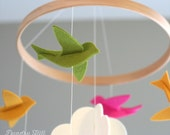 100% Merino Wool Felt Nursery Mobile - Eco-Friendly - Rich, Lightfast Colors - Heirloom Quality - Green, Pink and Yellow Birds