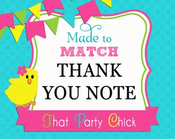 Made to Match Invitation Thank you note Printable by That Party Chick