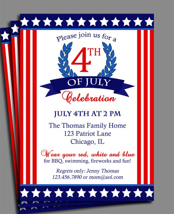 Fourth Of July Invitation Printable Or Printed With FREE