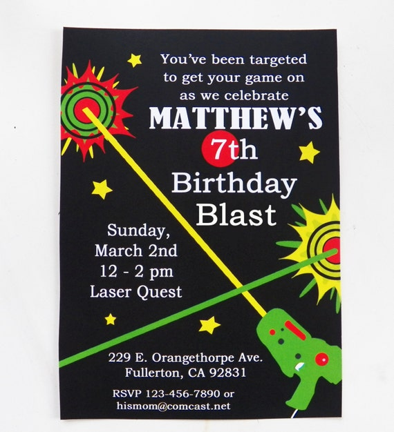 Clean image in printable laser tag birthday invitations