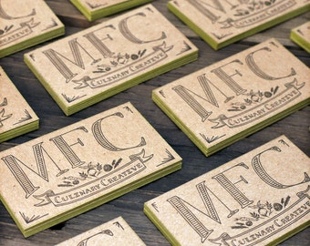Custom Letterpress Business Card and Graphic Design Package w/ edge printing - 100qty