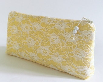 Yellow Wedding Clutch, Lace Clutch, Bridal Purse, Bridesmaid Lace Bag, Cosmetic Bag, Gift for Her