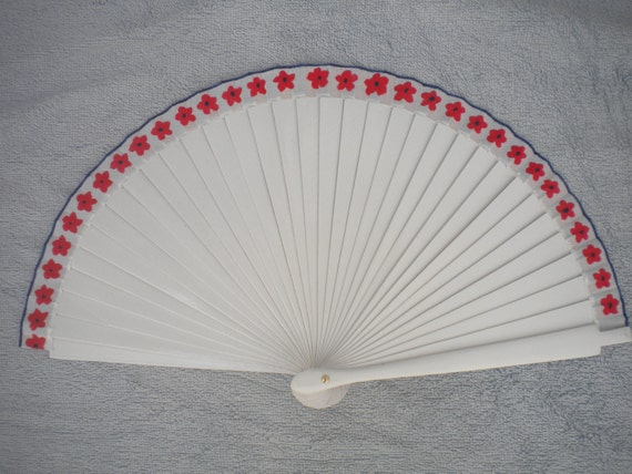 MTO Hand Painted Wooden Hand Held Fan FLOWERS Red White Blue by Kate Dengra Spain