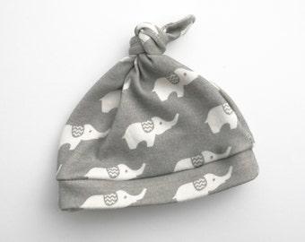 Gray Elephant Organic Baby Hat- Ready To Ship Knotty Hat Baby Newborn Photo Prop Organic Baby Hat