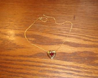 vintage necklace avon sliding heart goldtone