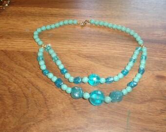 vintage necklace double strand blue lucite