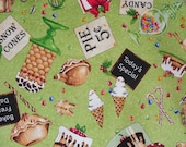Christmas Fabric, Christmas Treats, Tidings of Great Joy,  Christmas Desserts, Gingerbread Houses,  By the Yard