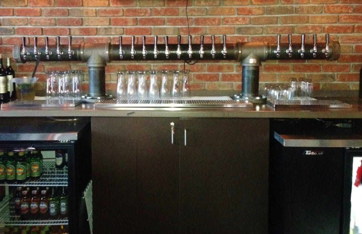 20 Tap Custom Draft Beer Tower Double T Style Black Iron Pipe