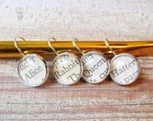 Alice in Wonderland Crochet Stitch Marker Set Knitting Removable White Rabbit Mad Hatter Silver Markers Leverback Earrings Lewis Carroll