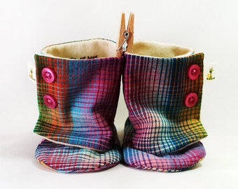 Plaid Boots, Baby Booties, Baby Boots - from 0 - 18 Months