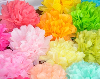 6 tissue poms {Rainbow}