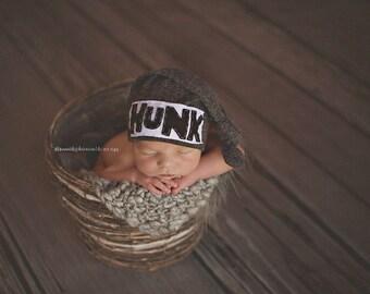 HUNK HAT, knot beanie, newborn hat, first born, newborn photo prop, custom hat, baby shower gift, baby boy hat, charcoal hat