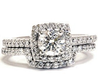 1.25CT Diamond Halo Wedding Ring 14K Gold
