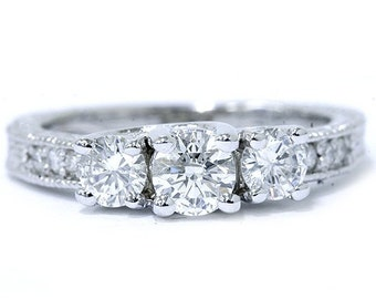 Antique 0.80Ctw Round Diamond 14K White Gold 3 Three Stone Anniversary Ring Band