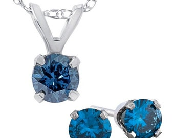 3/4CTW Blue Diamond Solitaire Pendant And Studs Set 10K White Gold And Chain