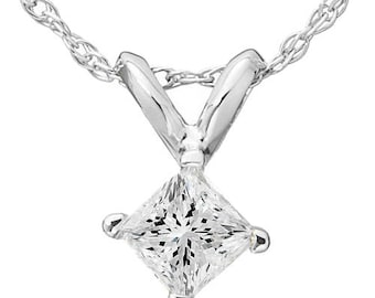 Diamond .50CT Princess Cut Real Pendant White Gold New