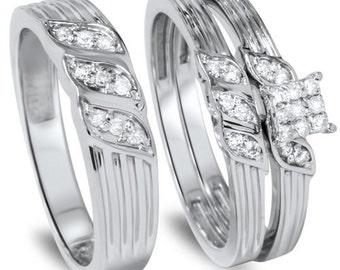 Trio Diamond Engagement Ring, Matching Diamond Engagement Wedding Ring Set, White Gold Diamond .33CT Engagement Trio Ring Set 10K White Gold