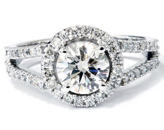 VS1 1.80 cttw Diamond IGI Certified Halo Split Shank Engagement Ring 14K White Gold Size 7