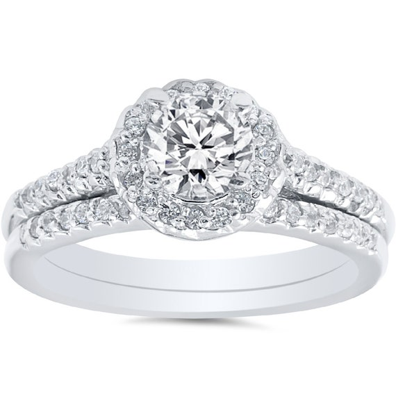 3/4CT Diamond Pave Halo Engagement Matching Ring Wedding Band Bridal Set 14K White Gold Size (4-9)